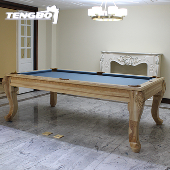 French Style Antique Solid Round Wood Convertible Dining Pool Table - Pool table converts to dining