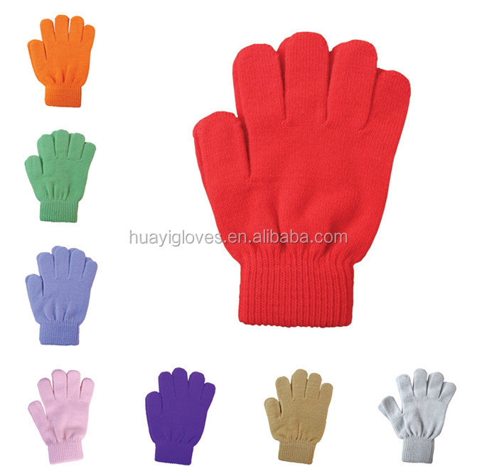 Kids Children Assorted Colors Magic Knit Warm Stretch Acrylic Glove