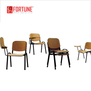 Modern wood training room chair with tablets or writing board, FOH-58XM679