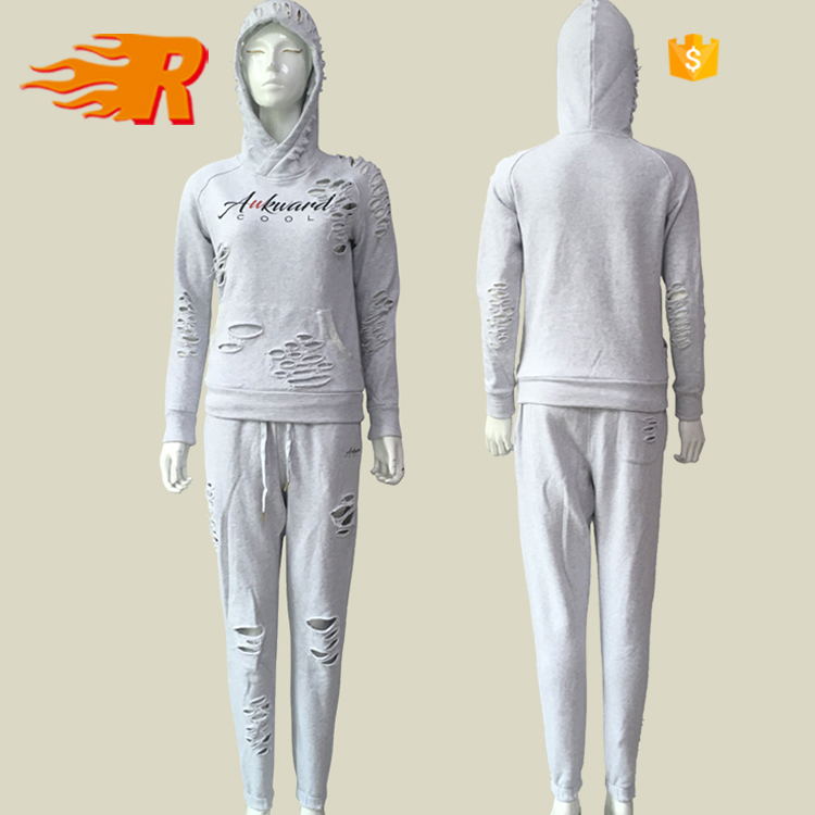 Custom Latest Design Womens Grey Plain Distressed Tracksuit Wholesale