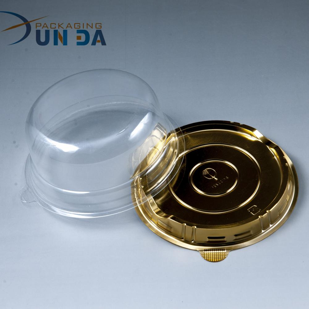 Wholesale Customized Clear PET Cupcake Boxes with Gold Bottom Cupcake Box