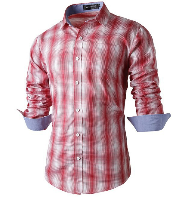 Fashion Mens Plaid Shirts 2015 Casual Leisure Slim Fit Stylish Dress Shirts For Men's Business Camisa Masculine ZHY1315