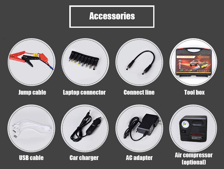 Multi-fonction batterie au lithium banque d'alimentation portable trousse d'outils d'urgence 12 V démarreur de saut de voiture
