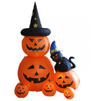 2018 hot sales inflatable pumpkin black cat for halloween decorations