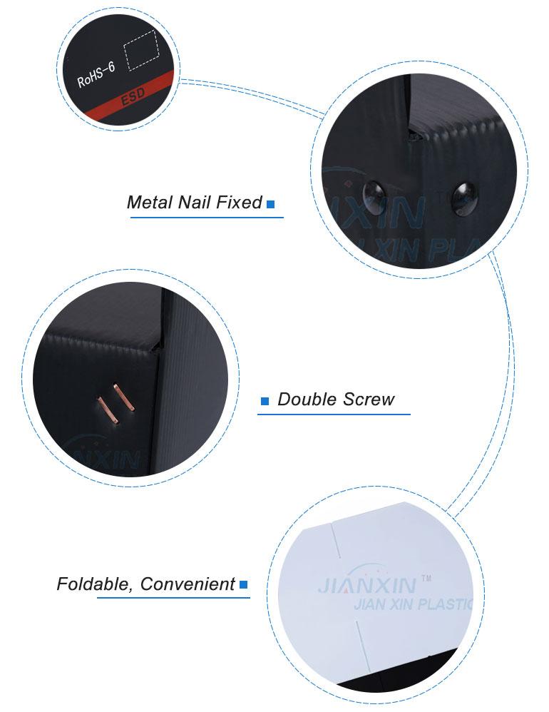 Antistatic नालीदार संभाल प्लास्टिक के बक्से/काले Corflute पैकेजिंग बॉक्स