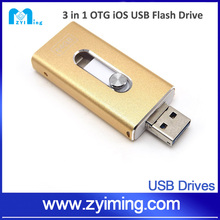 Zyiming High Quality 3-in-1 OTG USB Flash Drive/ pendrive/USB Stick For Apple IPhone IPad Android PC