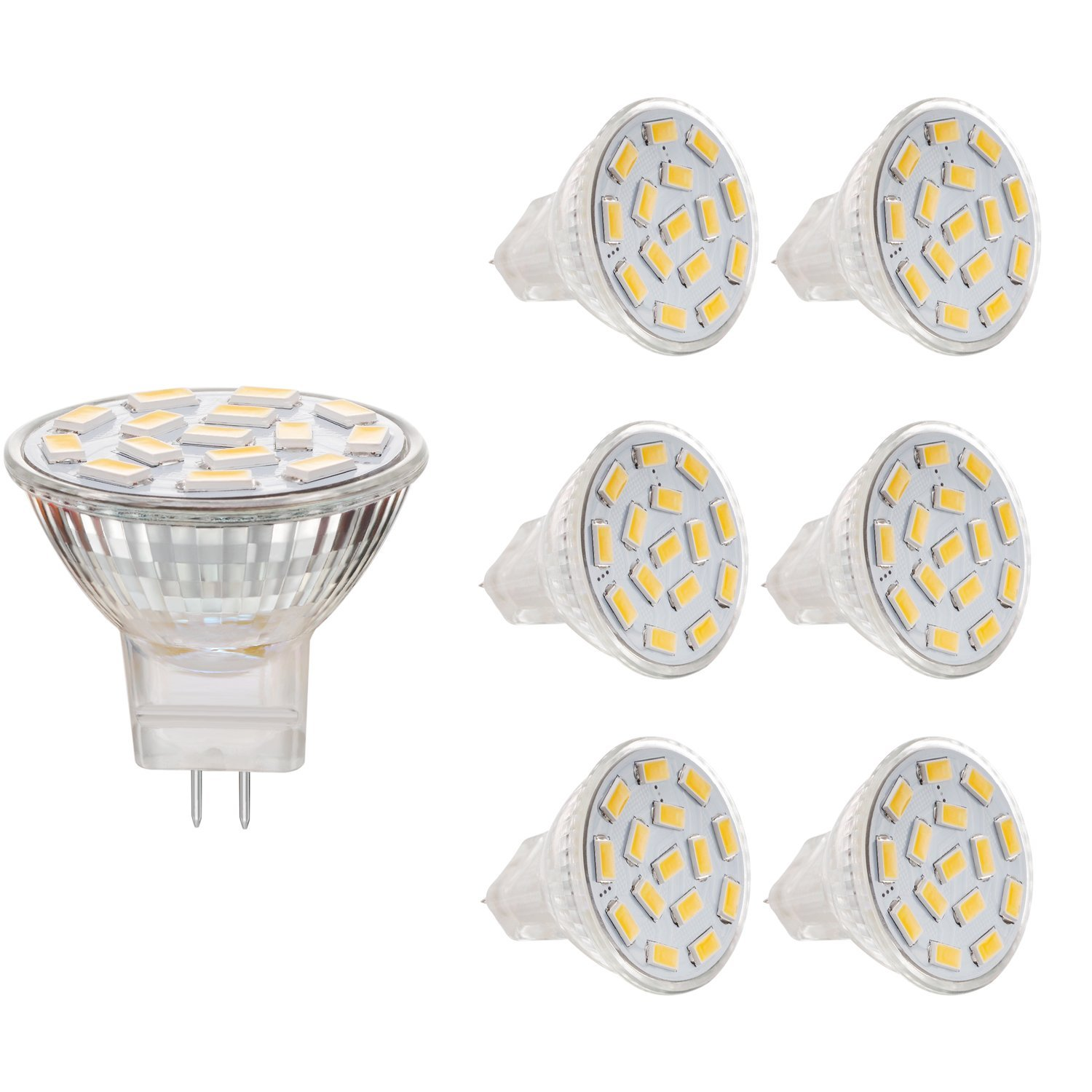 Bogao 2.6W MR11 GU4.0 LED Bulbs, 20-25W Halogen Bulbs Equivalent, GU4 Base, 240lm, 12V AC/DC, 120 Flood Beam, Warm White, 3000K, LED Light Bulbs, Pack of 6