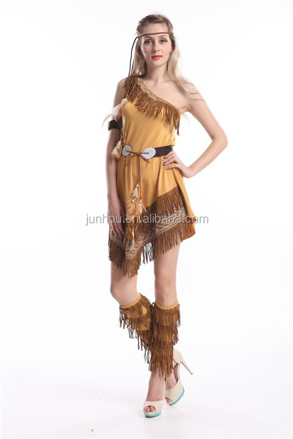 Damas Pocahontas Indio Nativo Americano Salvaje Oeste Vestido Traje - Disfraz-india-americana
