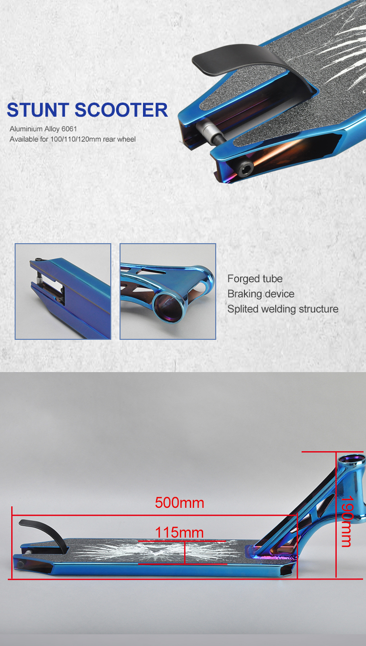 Funsea China manufacturer new performance aluminium alloy 6061 scooter parts PVD blue kick scooter decks stunt scooter deck