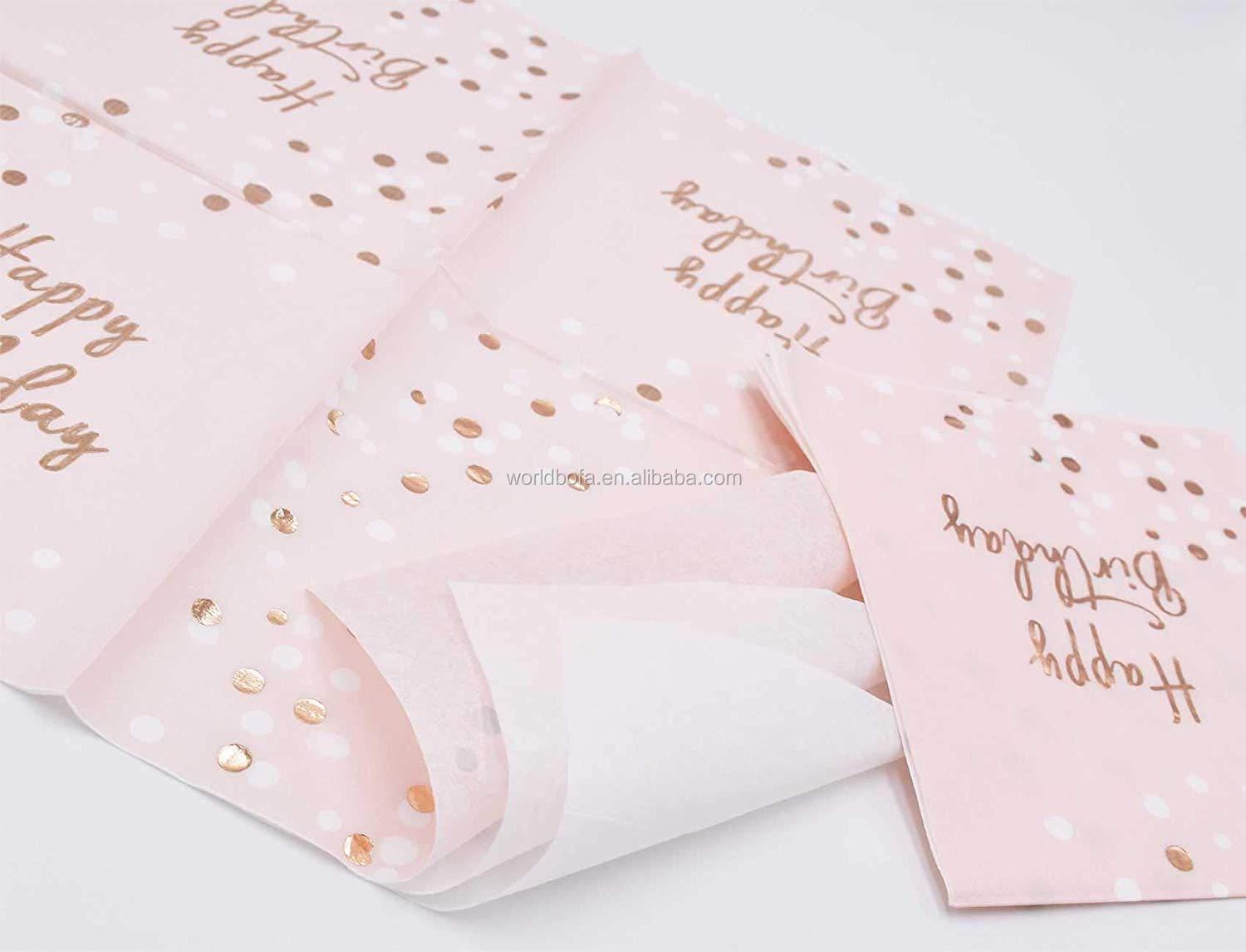 Rose Gold Foil Cocktail Napkins Disposable for Birthday