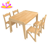 wholesale high quality primary and kindergarten oak wooden kids desk chairs for children study W08G228