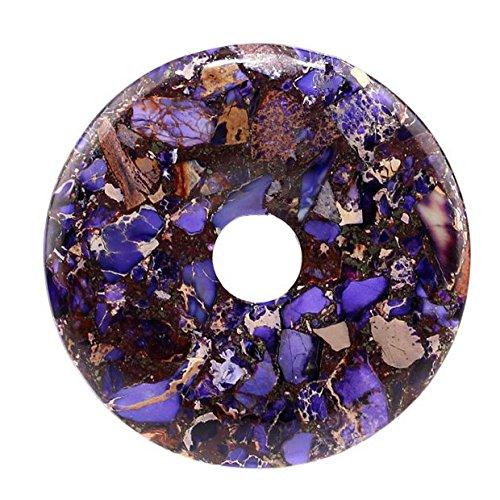 50mm Gemstone Dyed Sea Sediment Jasper Reiki Healing Chakra Donut Pendant Bead DIY Jewelry Accressory Necklace Kit Dark blue