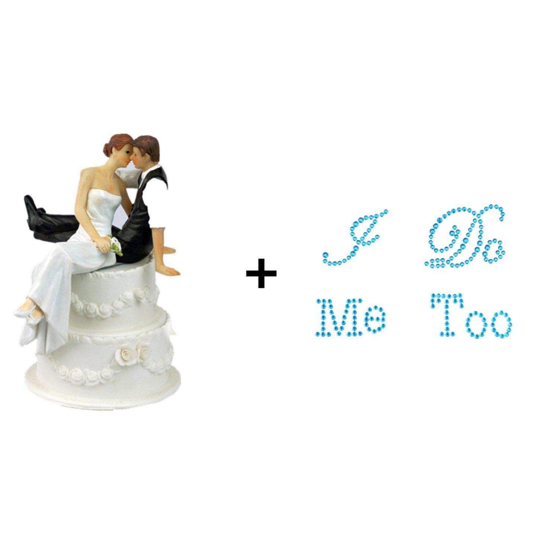 "TtoyouU Wedding Cake Topper Love Bride and Groom Figurine+2 Wedding Rhinestone Shoes Applique Decals Stickers ""I Do"" & ""Me Too""-Wedding Selection (Wedding Cake Topper + Blue Wedding Shoes Stickers)"