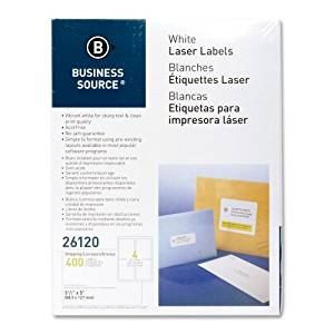 """Wholesale CASE of 20 - Bus. Source 3-1/2""""x5"""" Address Laser Labels-Mailing Labels,Shipping,Laser,3-1/2""""x5"""",400/PK,White"""