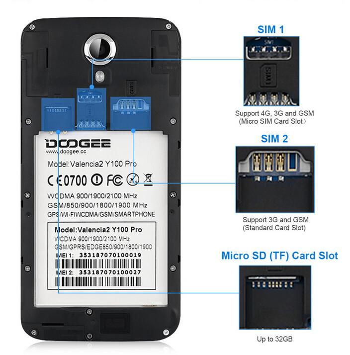 DOOGEE Valencia 2 Y100 PRO MTK6735 ליבות 1.3 ג ' יגה ROM 16GB 2GB RAM 5.0 inch 2.5 D OGS אנדרואיד 5.1 טלפון חכם OTG 4G FDD-LTE