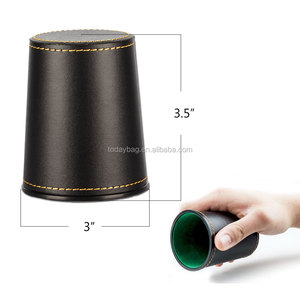 Factory In stock black leather green velvet dice cup with dices