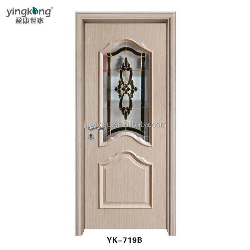 Made in China waterproof french Plain white pvc interior solid wood double doors