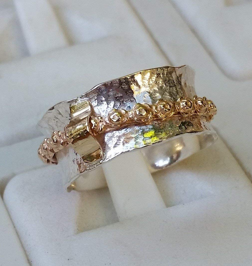 Silver And Gold Spinner Ring ,Handmade Spinner Ring ,Sterling Silver Spinner Ring ,Bridal Spinner Ring ,Flower Ring ,Unique Wedding Jewelry