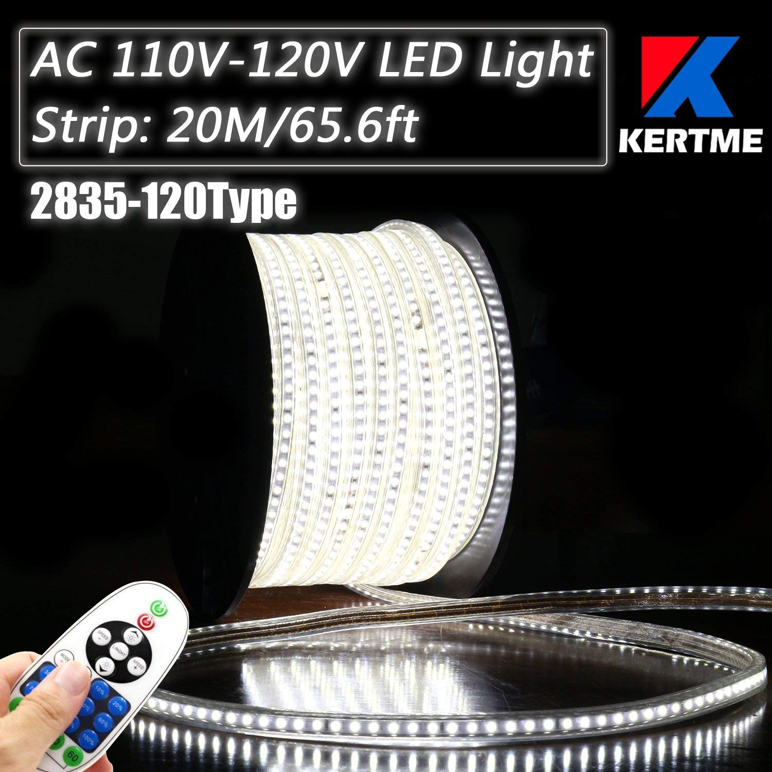 KERTME 2835-120 Type AC 110-120V LED Strip Lights, Flexible/Waterproof/Dimmable/Multi-Modes LED Rope Light + 23 Keys Remote for Home/Garden/Building Decoration (65.6ft/20m, White 6000K)