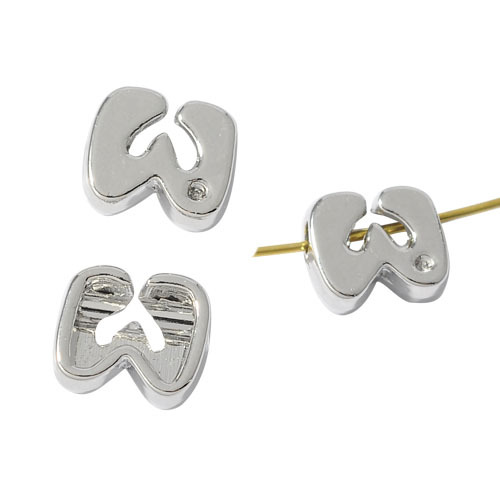 Wholesale cheap zinc alloy single letter alphabet U V W X Y Z spacer beads with crystal for jewelry