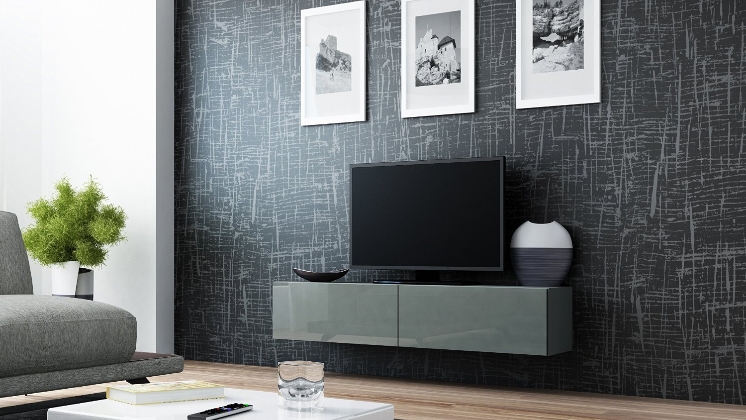 """Concept Muebles Seattle 65"""" New TV Stand - High Gloss TV Stand/Media Shelf European Design Hanging Furniture/Hanging TV Stand/Central TV Unit (Grey - Grey)"""