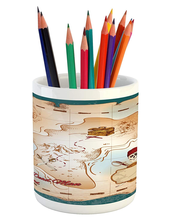 Lunarable Island Map Pencil Pen Holder, Cartoon Pirate Treasure Map Crossbones and Skull Dead Man Island Children Design, Printed Ceramic Pencil Pen Holder for Desk Office Accessory, Teal Cream