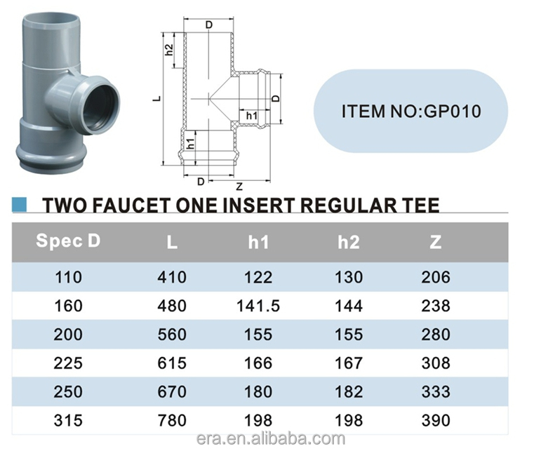 ERA PVC PN10 Pressure Pipe Fittings Tee With Gasket