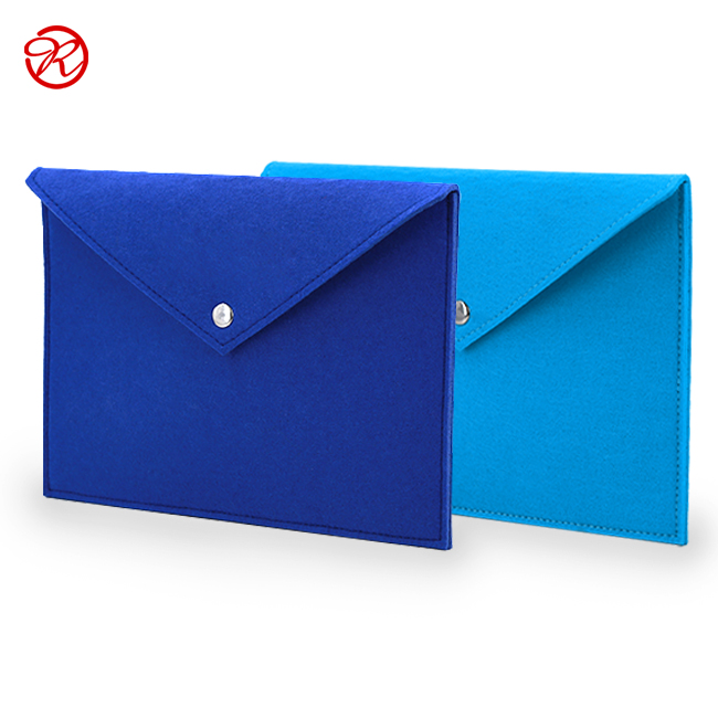 Durable Office Briefcase Expanding Felt Document Holder With Snap Button