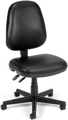 Anti-Bacterial Medical Office Task Chair in Black Vinyl - Lab & Clinic Chair