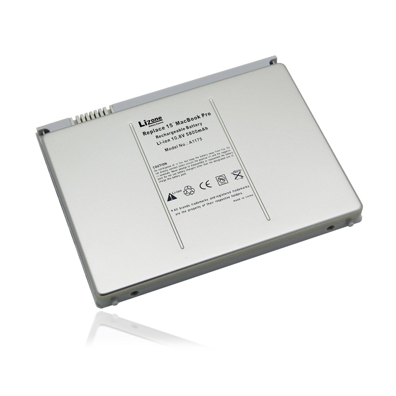 Lizone High Performance 5800mAh Laptop Battery for Apple MacBook Pro 15 inch A1175 A1211 A1226 A1260 A1150 2006 2007 2008 Version Laptop battery, Aluminum Body(Not Plastic) -Li-Polymer 5800mAh