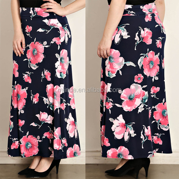 8380ed85fe0de2 Latest Formal Skirt Blouse Matching Flower Patterns Polyester Floral Print  Maxi Plus Size Fat Women Long