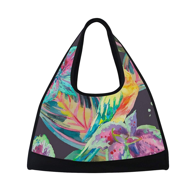 Sport Gym Bag Watercolor Colorful Leaf Parrot Bird Canvas Travel Duffel Bag