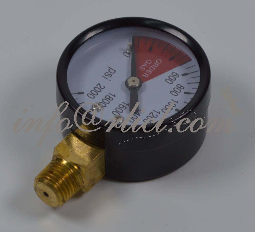 Regulator Gauge - High Pressure, 0 - 2000 PSI, Homebrewingrew