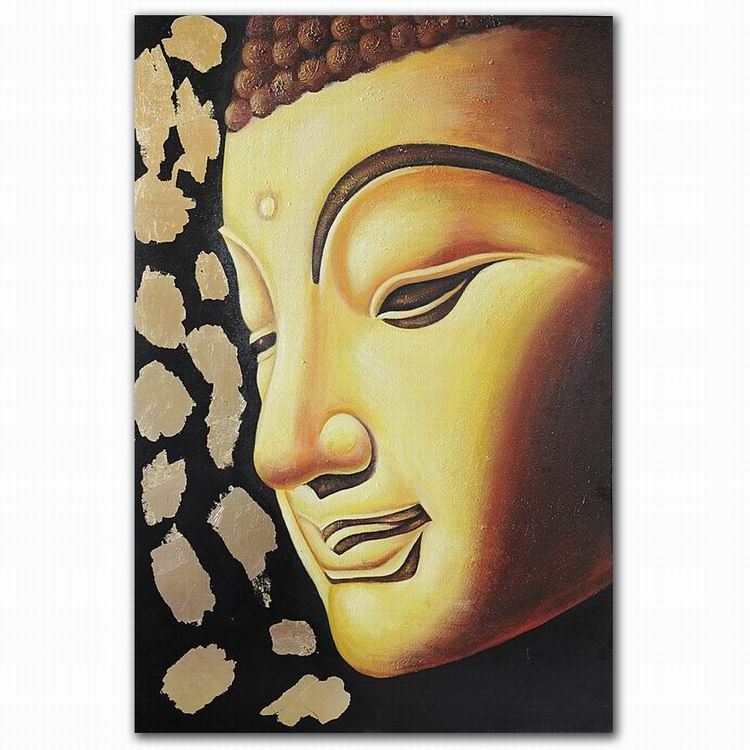 Factory Supply Modern Hand Painted Golden Buddha Face Oil Painting ...