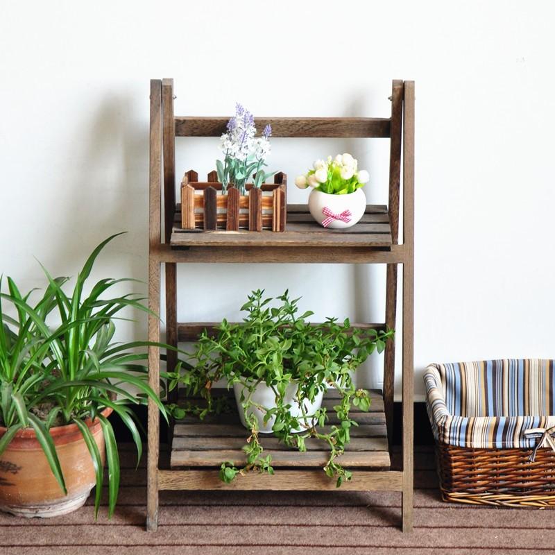 Garden Wood Flower Rack Flower Display Shelf Plant Stand