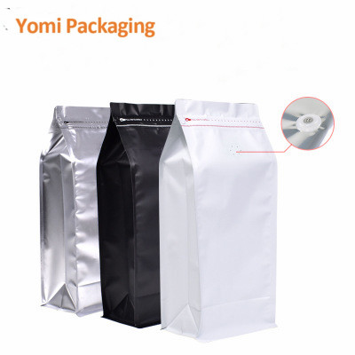 Flat bottom side gusset food plastic bag foil 8 Side Seal bags with zipper stand up packaging bags