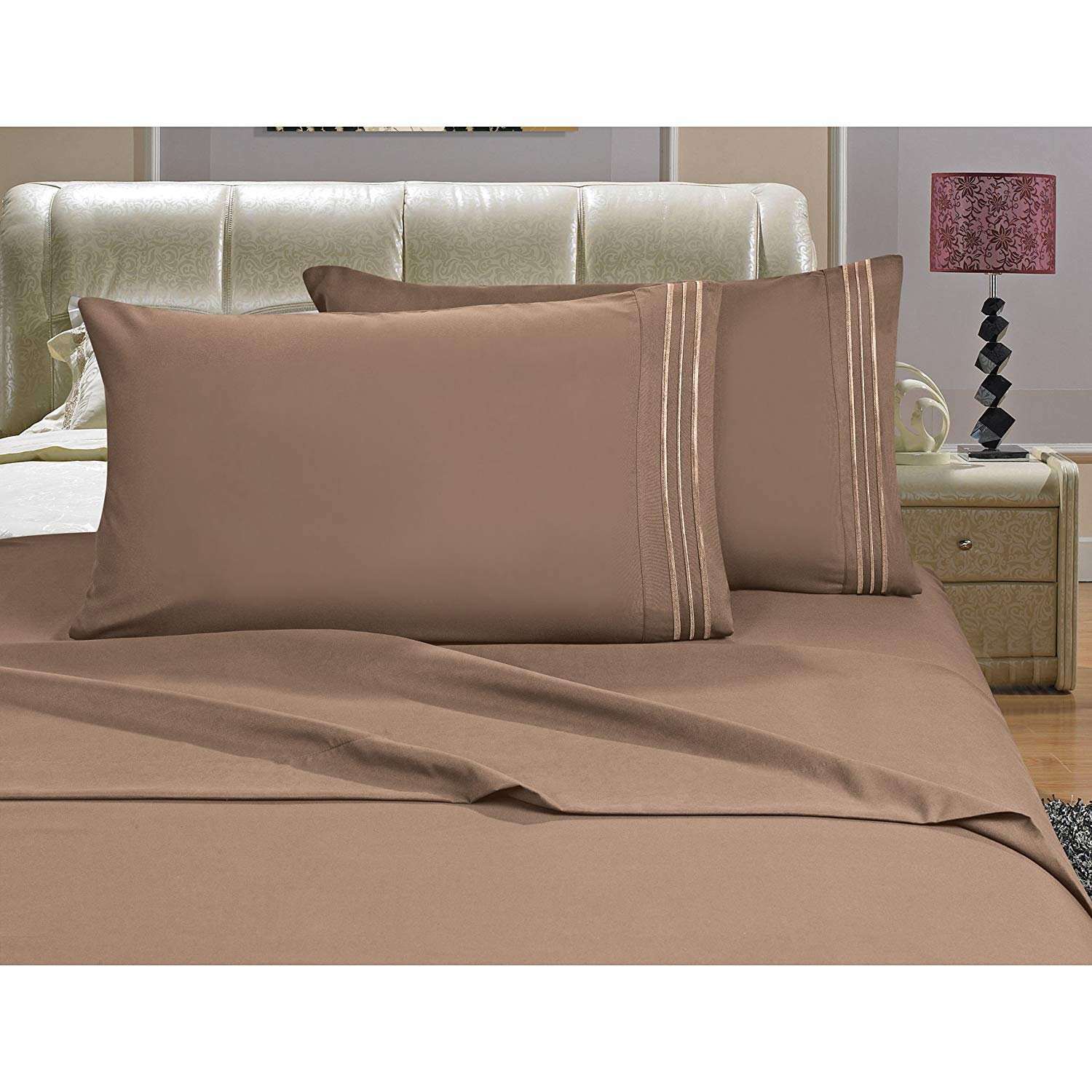 OSK 4 Piece Girls Taupe Brown Embroidered Stripe Sheet Full Set, Light Brown Color Solid Pattern Design Kids Bedding, Luxurious Colorful Traditional Teen Themed, Polyester Microfiber