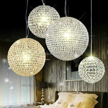 classcial style crystal round ball hanging lamps with cozy warm lighting effects