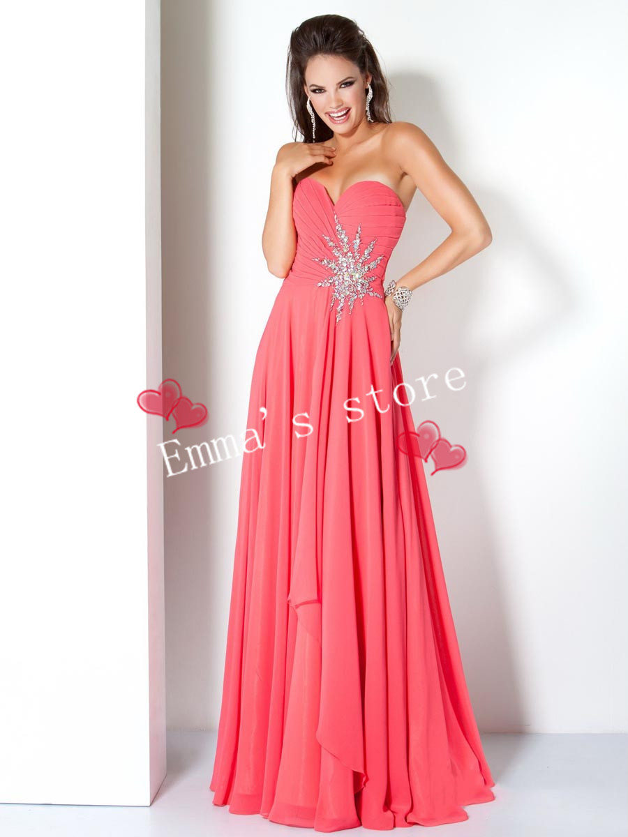 Get Quotations · Free Shipping 2015 Hot Intricate Popular A-Line Sweetheart  Beading Lady s Watermelon Chiffon Evening Party 17905ebeed1a