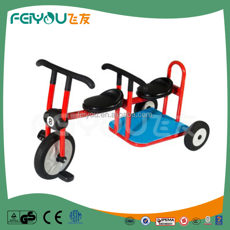Develop children's leg muscle with anti trap design children tricycle two seat