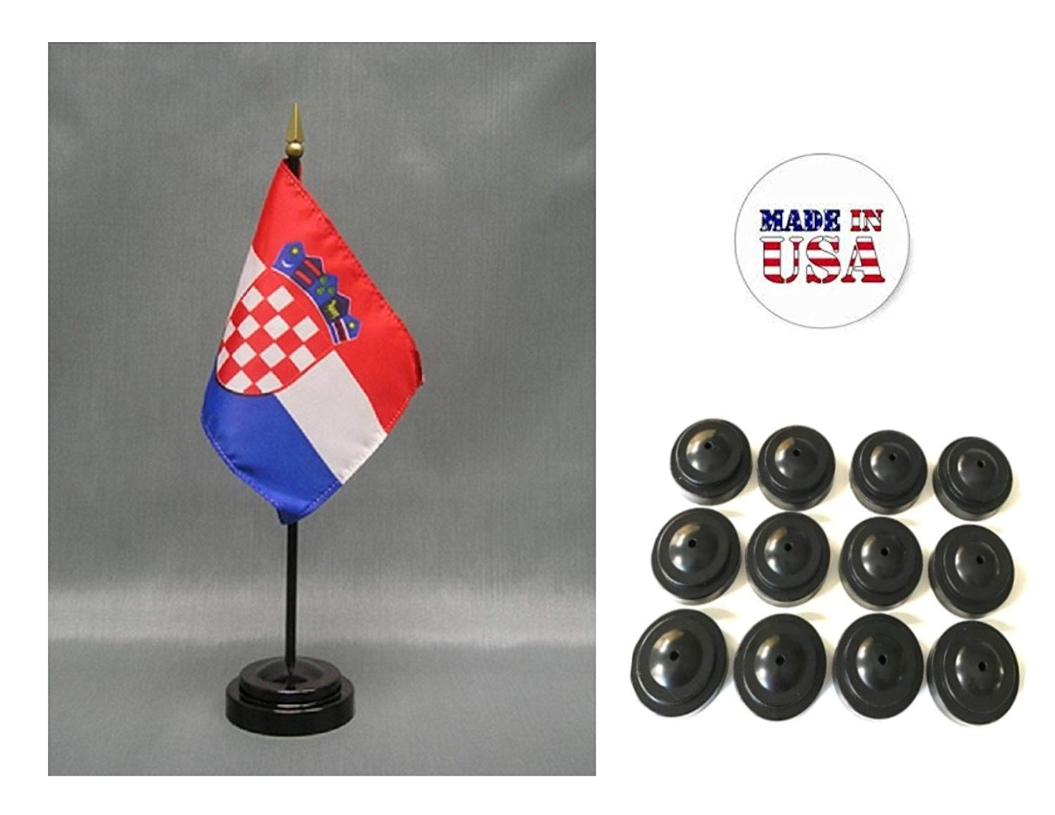 "Made in the USA!! Box of 12 Croatia 4""x6"" Miniature Desk & Table Flags Includes 12 Flag Stands & 12 Croatian Small Mini Stick Flags"