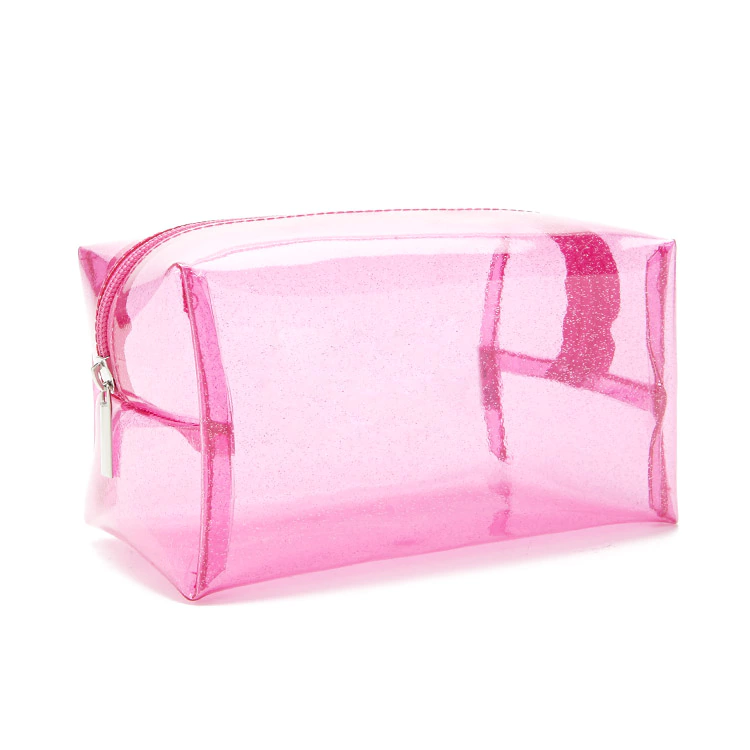 Glitterjelly Makeup Bag Clear Transpa Plastic Pvc Vinyl See Through Cosmetic Zipper Travel Organizer Pouch Pink Glitter