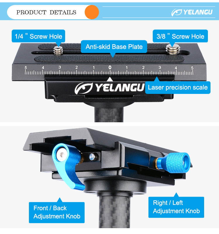 YELANGU Action Camera Accessories Handheld Steadycam Stabilizer For DSLR Gimbal Camcorder