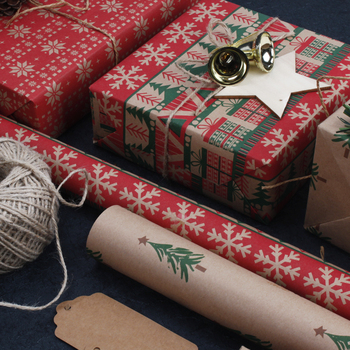Wholesale Brown Kraft Paper Roll Christmas Themed Printed Gift Wrapping Paper