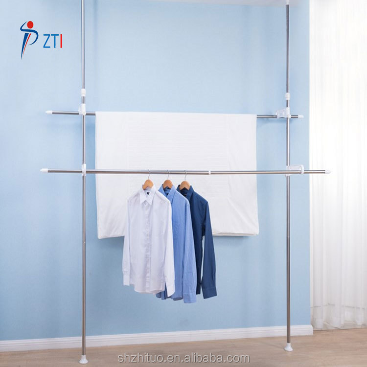 Vertical stainless steel telescopic balcony standing clothes hanging rack