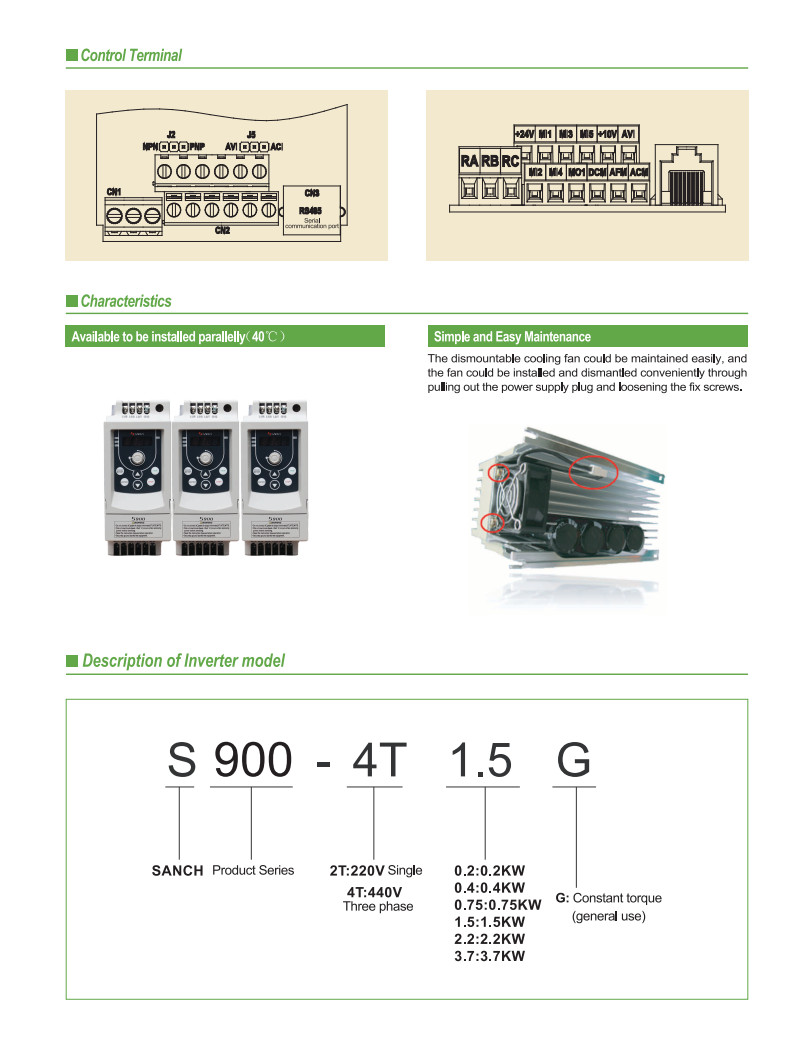 Sanch the same to Fuji-Micro series 3.7Kw 220v single to 3 phase ac inverter motor driver