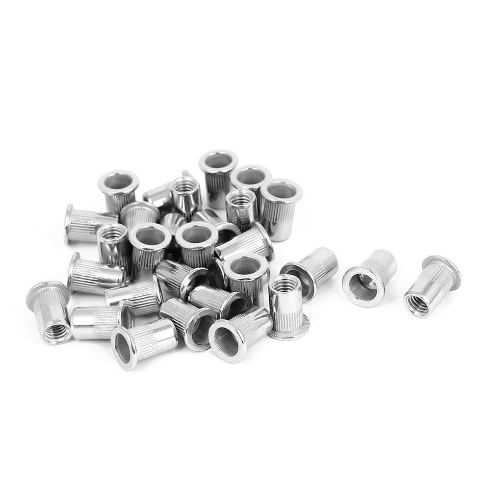 TOOGOO(R) M8x18mm Stainless Steel Ribbed Body Flat Head Rivet Nut Nutserts 30pcs