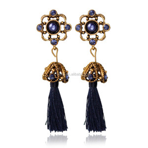 2016 euro vintage style rinestone inlaid tassel earring for lady