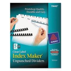 Index Maker Clear Label Unpunched Divider, 5-Tab, Letter, White, 25 Sets By: Avery