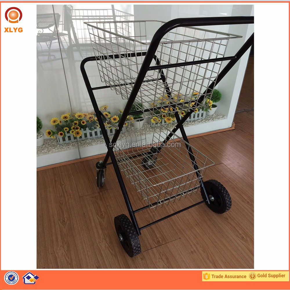 Supermarket shopping trolley, supermarket equipment, double shopping basket cart